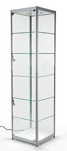 Silver Glass Tower Showcases Have An Aluminum Frame With Tempered Glass Panels