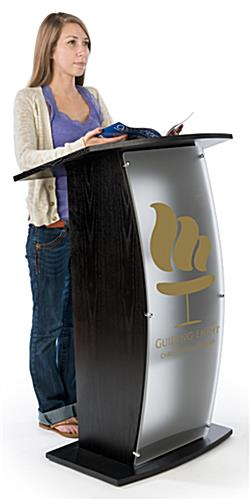 Floor Standing Black Lectern with Personalized Graphic