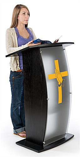 Black Pulpit with Praying Hands Cross Graphic and Frosted Front Panel