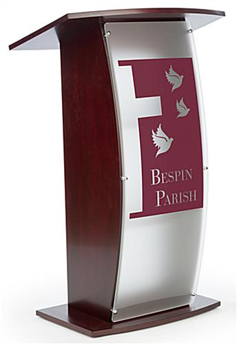 Mahogany Pulpit with Made-to-Order Logo or Custom Graphic