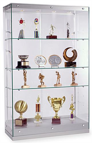 "Award Display: 48""w Silver Painted MDF Grace Tyler Commerical Trophy Case"
