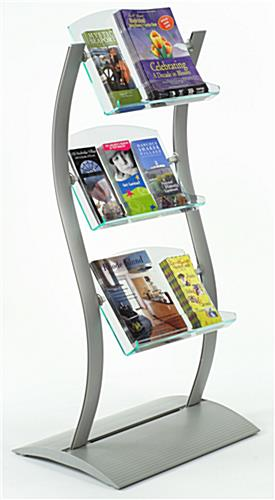 Publication Stand: Wave Display W/ Green-Edged Acrylic Pockets