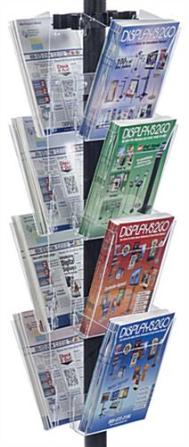 "11"" x 17"" Sign Post with 8 Clear Literature Pockets, Acrylic Holders"