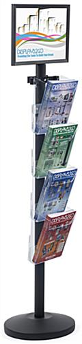 "17"" x 11"" Sign Post with 4 Clear Literature Pockets, Floorstanding"
