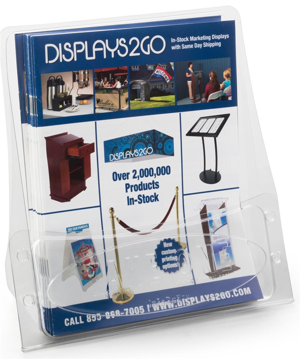 Countertop plastic flyer holder inexpensive lightweight for Plastic flyer stand
