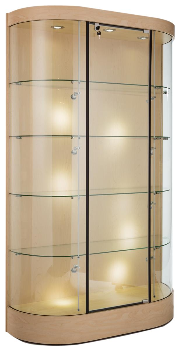 these against the wall trophy cases in maple have ten halogen lights to put the spotlight on. Black Bedroom Furniture Sets. Home Design Ideas