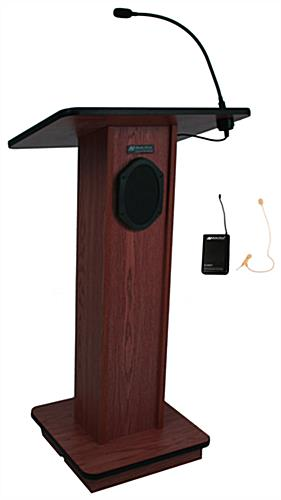 Wood Podium with Wireless PA, Mahogany