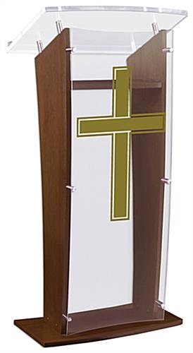 Wood Pulpit with Traditional Cross comes Fully Assembled for Immediate Use
