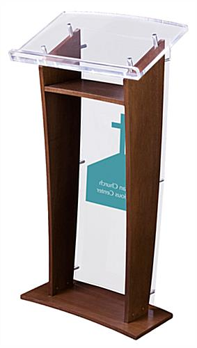 Contemporary Podium with Made-to-Order Artwork and Built-In Shelf
