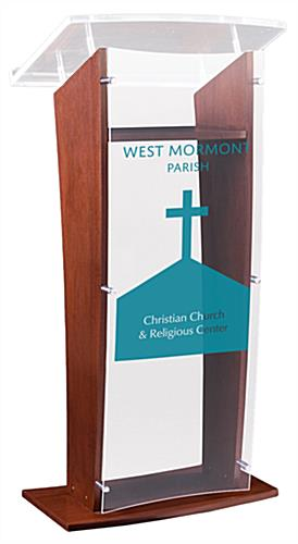Contemporary Podium with Made-to-Order Artwork in Single-Color Vinyl