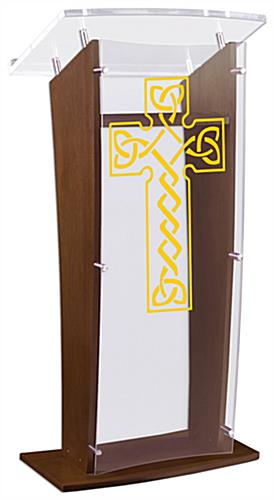 Wood Pulpit with Celtic Cross comes Fully Assembled for Immediate Use