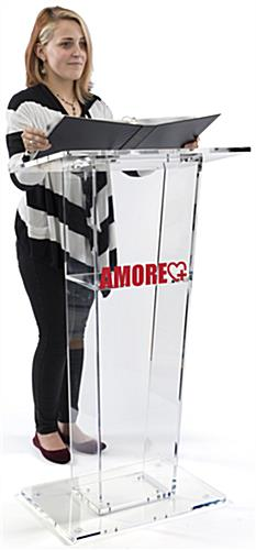 Transparent Podium with Custom Graphic with Cleaning Cloth
