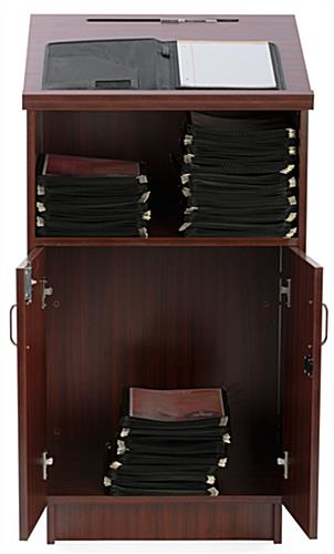Locking Hostess Station Can Secure Items Placed Inside of the Locking Cabinet