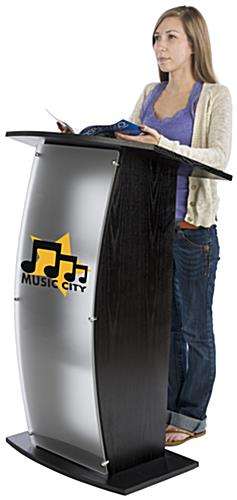 Frosted Plexi Podium with Custom Graphic, Weighs 44.5 lbs