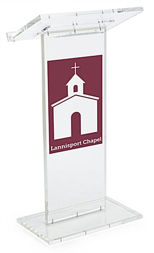 Clear Lectern with Customizable Front Graphic Panel