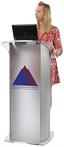 Frosted Plexiglass Podium with 2-Color Imprint, Weighs 73 lbs
