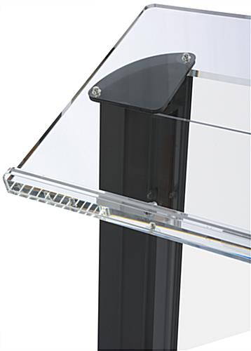 "Clear & Black Lectern with 26"" x 15"" Reading Surface"