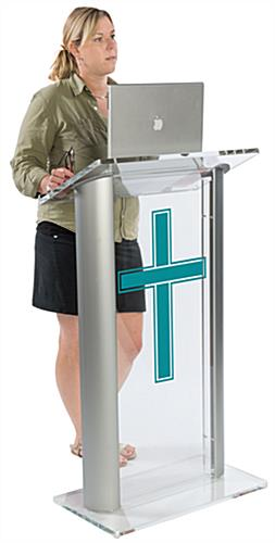 Acrylic Pulpit with Traditional Cross Printed in One of Ten Colors