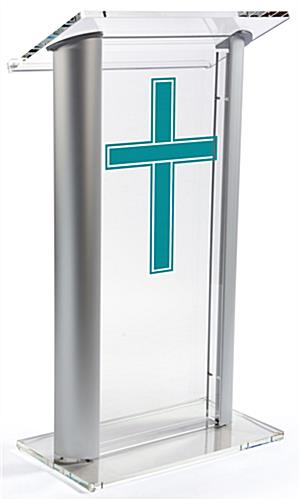 Acrylic Pulpit with Traditional Cross with Aluminum Sides