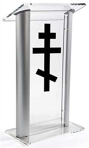Acrylic Pulpit with Orthodox Cross with Aluminum Sides