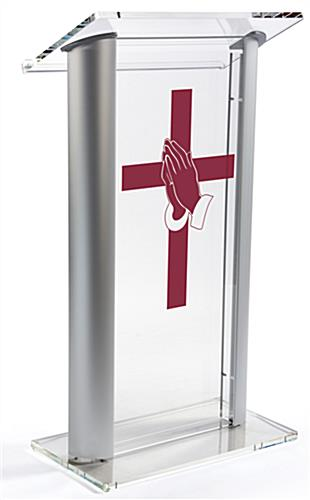 Acrylic Pulpit with Prayer Hands Cross Vinyl Graphic