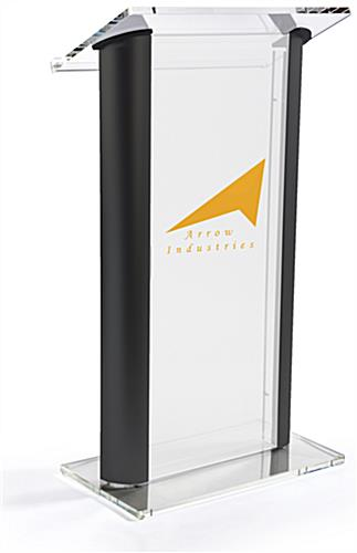 Black Sided Modern Clear Podium with Frosted Acrylic