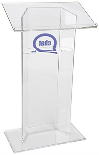 "Custom Graphic Plexiglass Lectern with 0.5"" Thick Acrylic"