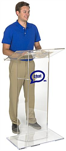 Custom Graphic Plexiglass Lectern with 10 x 10 Printable Area