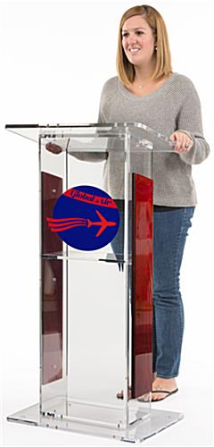 Clear Plexiglass Podium with Custom Graphic, Floor Standing