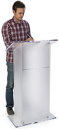 Frosted Plexiglass Pulpit with Large Tabletop