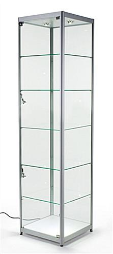 Silver LED Display Case, Aluminum Frame