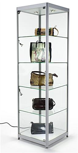 Silver LED Display Case with Tempered Glass