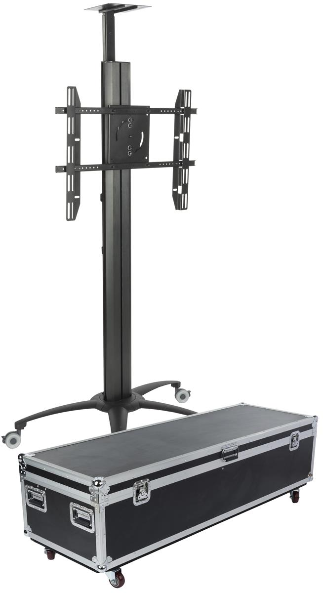 Portable Screen On Rollers : Flat screen mount with rolling case integrated power strip