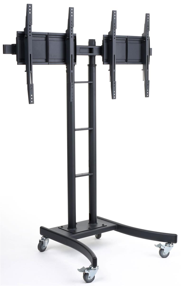 Portable Screen On Rollers : Dual monitor stand black powder coated finish