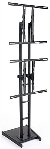 these flat screen tv racks have wheels for easy mobility  this heavy duty display is height