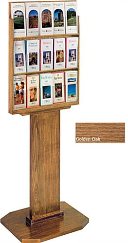 Golden Oak Wood Brochure Display Stand