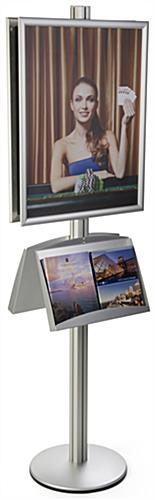 22x28 Snap Poster Stand with 2 Literature Shelves, Silver Finish