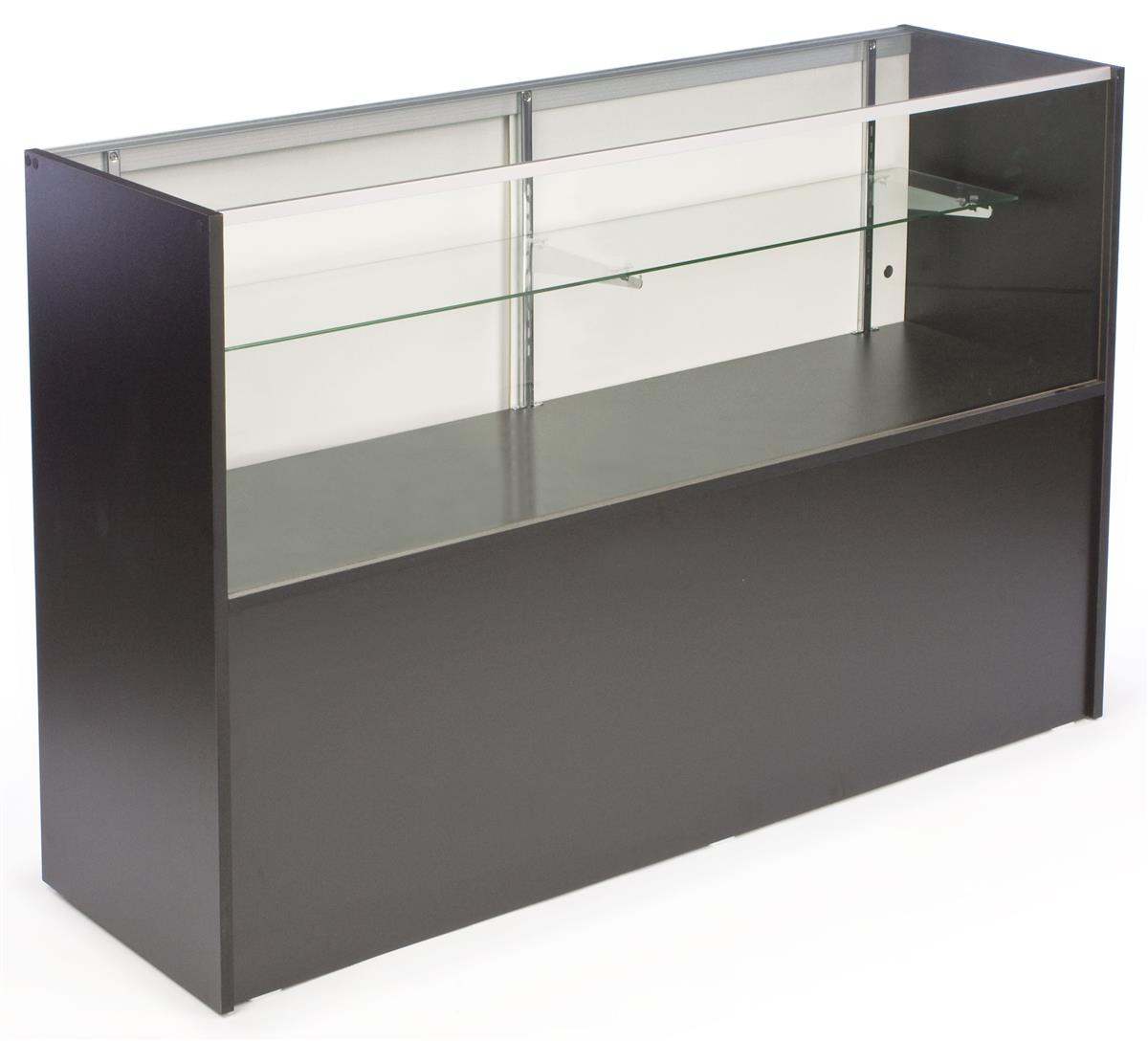 Display Case Adjustable Glass Shelves W Sliding Doors
