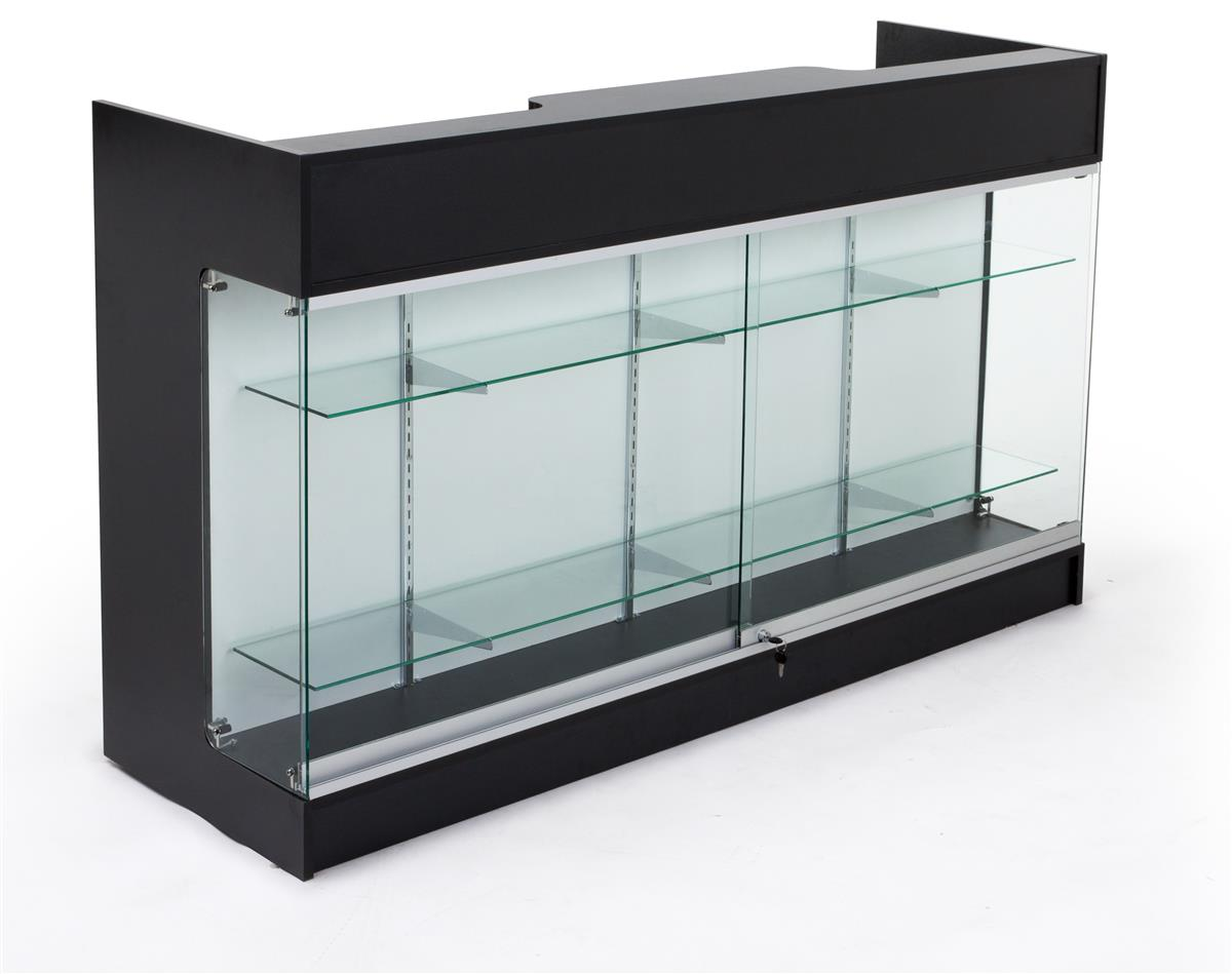 Ledgetop Counters Black With Glass Display Front