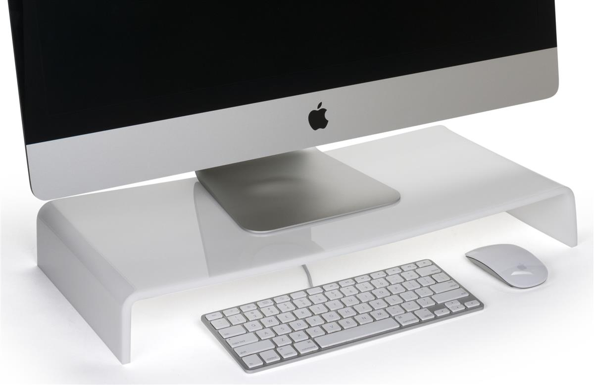 White Acrylic Monitor Risers Desktop Stands