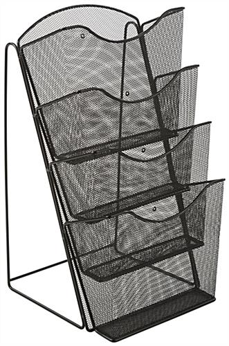 mesh magazine rack w 4 pockets wire brochure display. Black Bedroom Furniture Sets. Home Design Ideas