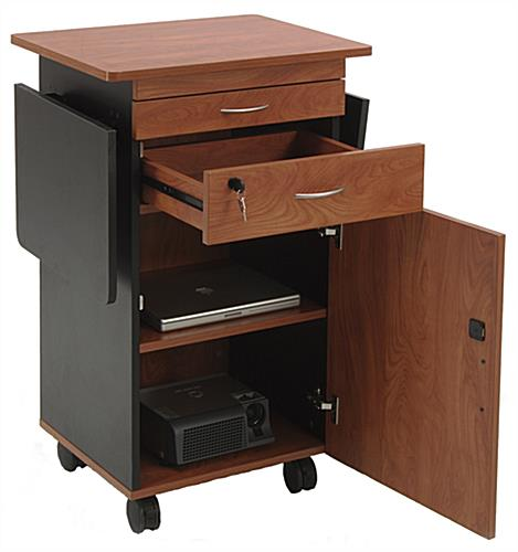 AV Lectern with Dual Flip-Up Shelves
