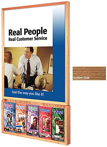 Oak Wood Poster Frame with Brochure Holders, Wall Mountable
