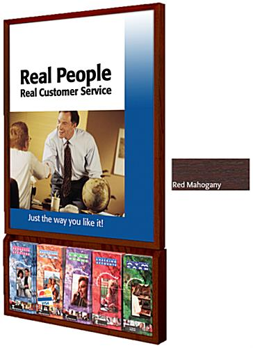 Wooden Poster Frame with Brochure Holders, Red Mahogany Finish