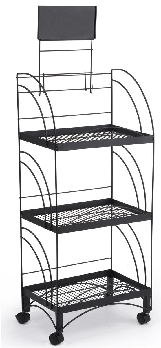 Metal Store Display Shelving Black Pos Racks