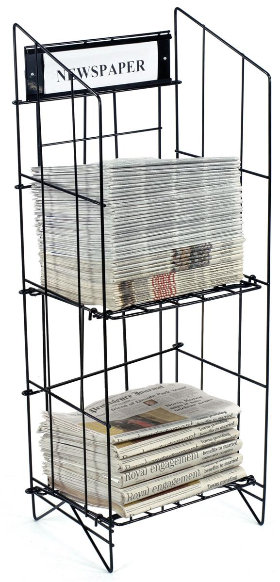 Newspaper Stand Designs : Newspaper stands freestanding tier racks with header