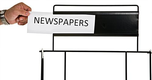 Metal Newspaper Stand with Slide-In Sign Insert