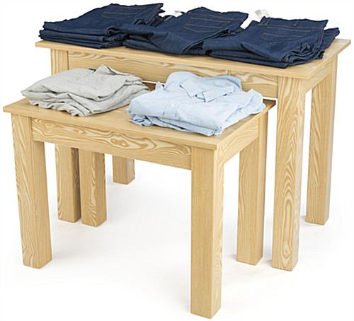 Wood Nesting Tables Promoting Merchandise