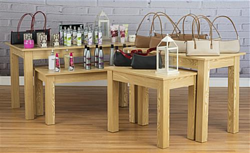 Wood Nesting Tables in Use