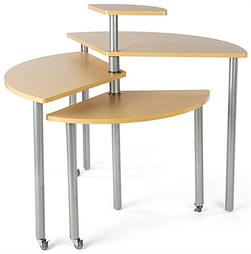 Maple Rotating Retail Display Table Made of Melamine & Aluminum
